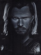 Thor Drawings Metal Prints - Chris Hemsworth Metal Print by Rosalinda Markle