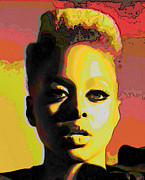Michelle Digital Art Framed Prints - Chrisette Michele 2 Framed Print by Byron Fli Walker