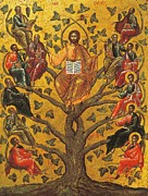 Jesus Christ Icon Painting Posters - Christ and the Apostles Poster by Unknown