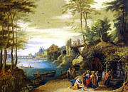 Jesus With A Woman Painting Posters - Christ and the Canaanite Woman Poster by Jan Brueghel