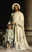Child Jesus Paintings - Christ and the child by Joseph Hawkins