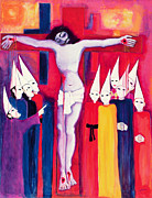 Warm Colors Paintings - Christ and the Politicians by Laila Shawa
