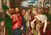 Son Paintings - Christ and the Woman Taken in Adultery by Veronese
