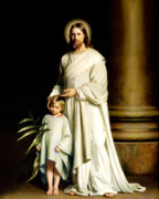 Christ Painting Framed Prints - Christ and the Young Child Framed Print by Carl Bloch Print