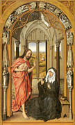 Rogier Van Der Weyden Posters - Christ Appearing to His Mother Poster by Rogier Van Der Weyden