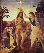 Baptism Paintings - Christ baptism by Leonardo da Vinci