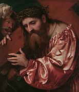 Religious Jesus On Cross Prints - Christ Carrying the Cross Print by Girolamo Romanino