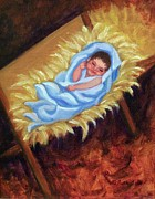Child Jesus Paintings - Christ Child in Manger by Ruth Soller