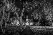 St. Simons Island Art - Christ Church BW by Debra and Dave Vanderlaan