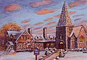 Christmas Eve Painting Posters - Christ Church in the Setting Sunlight Poster by Rita Brown