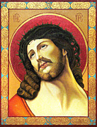 Jesus Christ Icon Prints - Christ crowned with thorns Print by Oksana Nabok