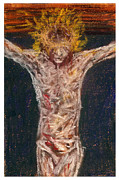 Kansas Artist Pastels Framed Prints - Christ Crucifixion No1 Framed Print by Tod Estes