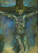 Kansas Artist Pastels Framed Prints - Christ Crucifixion No2 Framed Print by Tod Estes