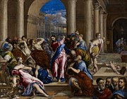 Money Painting Prints - Christ Driving the Money Changers from the Temple Print by El Greco