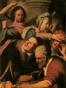Rembrandt Paintings - Christ Driving the Money-Changers from the Temple by Rembrandt