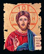 Russian Icon Digital Art Prints - Christ Icon fresco Print by OLena Art