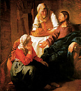 Jan Vermeer Paintings - Christ in the House of Martha and Mary by Jan vermeer