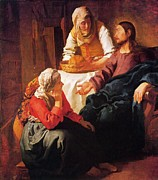 Martha Mary Paintings - Christ In The House Of Mary And Martha by Johannes Vermeer