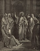 Bible Drawings Metal Prints - Christ in the Synagogue Metal Print by Antique Engravings