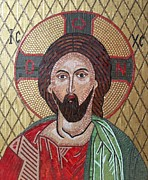 Fine Byzantine Mosaic Icons Mixed Media Posters - Christ Poster by Liza Wheeler