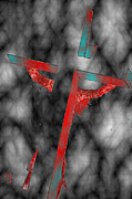 Justin Moore Digital Art Posters - Christ On The Cross Red Steel Edition Poster by Justin Moore