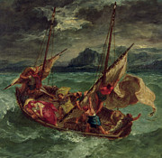 Sail Boat Paintings - Christ on the Sea of Galilee by Delacroix