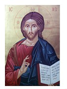 Icon Byzantine Posters - Christ Pantocrator-byzantine icon Poster by Janeta Todorova