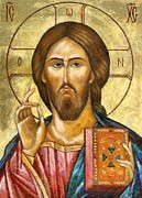 Jesus Christ Icon Prints - Christ Pantocrator Print by Dragica  Micki Fortuna