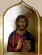 Orthodox Painting Framed Prints - Christ Pantocrator Framed Print by Filip Mihail