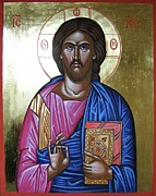 Icon Byzantine Painting Posters - Christ Pantocrator Icon Poster by Peter Murphy