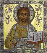 Egg Tempera Digital Art Prints - Christ Pantocrator Print by Mary jane Miller