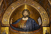Monreale Posters - Christ Pantocrator mosaic Poster by RicardMN Photography