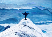Jesus In Clouds Paintings - Christ Statue in Rio in Blue by Kevin Croitz