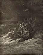 Bible Drawings Metal Prints - Christ Stilling the Tempest Metal Print by Antique Engravings