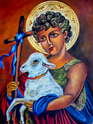 Christ The Good Shepherd  Print by Ryszard Sleczka