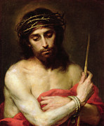 Red Drape Paintings - Christ The Man Of Sorrows by Bartolome Esteban Murillo