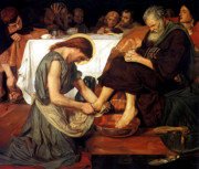 Christ Washes Feet Print Posters - Christ Washing Peters Feet Poster by Ford Madox Brown