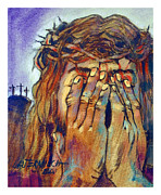 Blood Painting Originals - Christ Wiping Blood Away by John Lautermilch