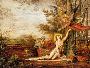 Christ In The Garden Print Paintings - Christ with Angels by Gustave Moreau