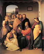 Martha Mary Paintings - Christ with Mary and Martha by Johann Friedrich Overbeck