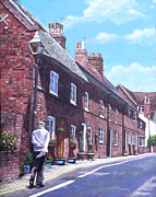 Old Houses Painting Acrylic Prints - Christchurch Church Lane Acrylic Print by Martin Davey
