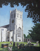 P Town Paintings - Christchurch Priory West View by Martin Davey