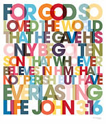 Big 3 Posters - Christian Art- John 3 16 VerseVisions Poster Poster by Mark Lawrence