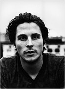 Celebrities Posters - Christian Bale Portrait Poster by Sanely Great