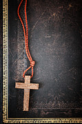 Orthodox Photo Posters - Christian Cross on Bible Poster by Elena Elisseeva