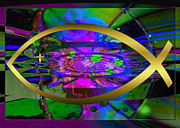 Bible Art Prints Digital Art - Christian Fish Ichthus by Robert G Kernodle