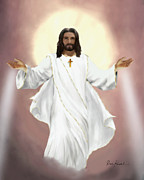 Jesus Art Paintings - Christian Religious Art of Jesus Paintings - Ascension of Jesus Christ by Christian Artist Dale Kunkel