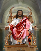 Jesus Art Painting Framed Prints - Christian Religious Art of Jesus Paintings - Christ on His Throne Framed Print by Christian Artist Dale Kunkel