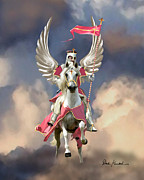 Christian Artwork Posters - Christian Religious Art - Psalm 91 - Archangel Warrior Poster by Christian Artist Dale Kunkel