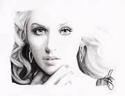 Rosalinda Drawings - Christina Aguilera 2 by Rosalinda Markle